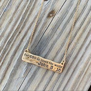 Jewelry - John 3:16 Gold Bar Necklace